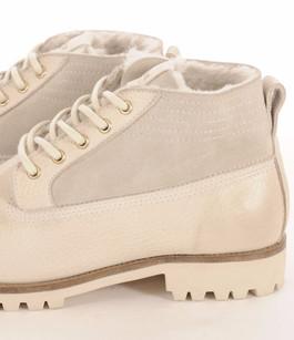 Boots Cuir et  Mouton Blanc Cassé Blackstone