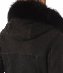 Peau lainée bordée renard noir Giorgio