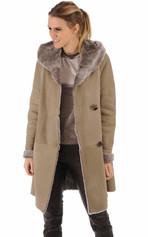 Veste longue peau lainée taupe