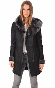 Manteau en peau lainee femme pas cher