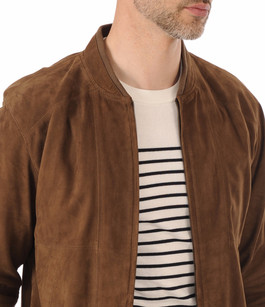 Blouson Cuir Velours Tabac Smarty