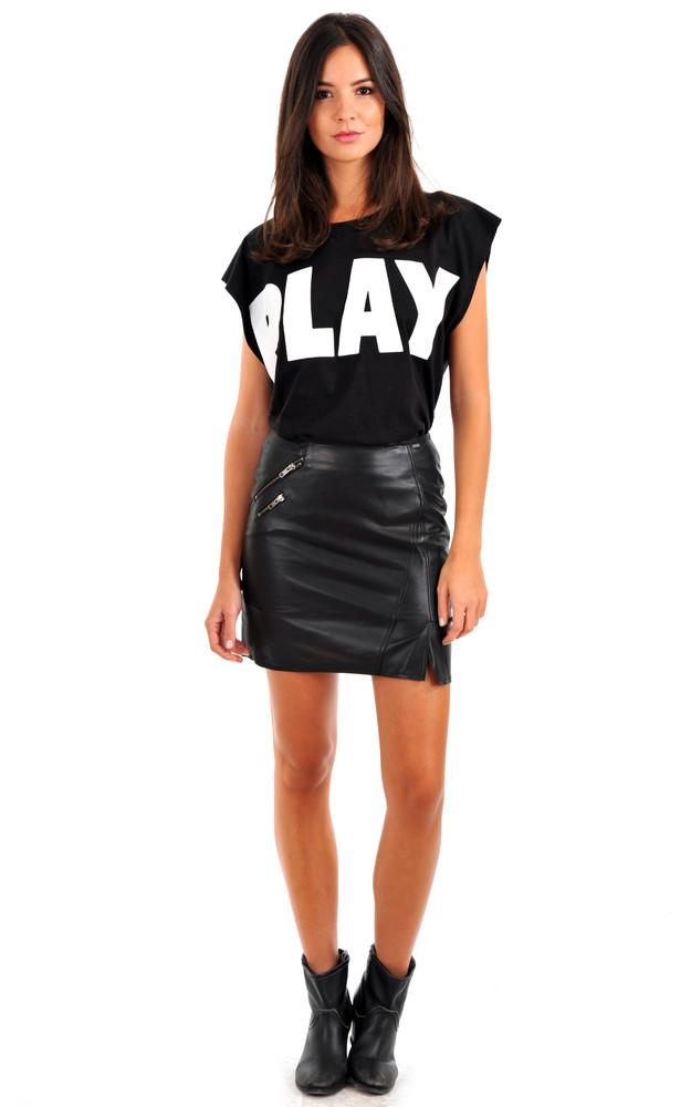 mini jupe cuir noir ikks la canadienne robe jupe top cuir noir. Black Bedroom Furniture Sets. Home Design Ideas