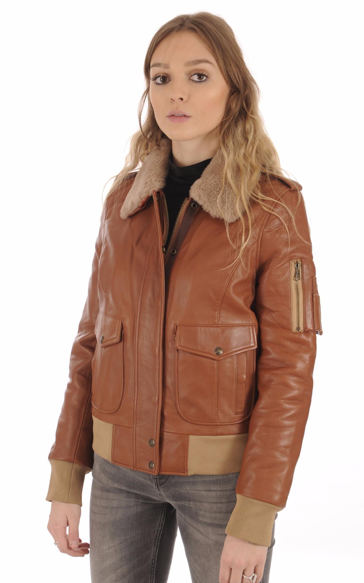 Canadienne Cognac Schott Cuir Femme Lcw9184 La Aviateur Blouson wSqc1BzxK