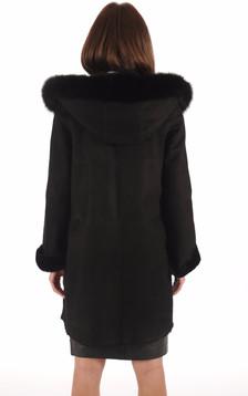 Manteau Mérinos Velours Noir