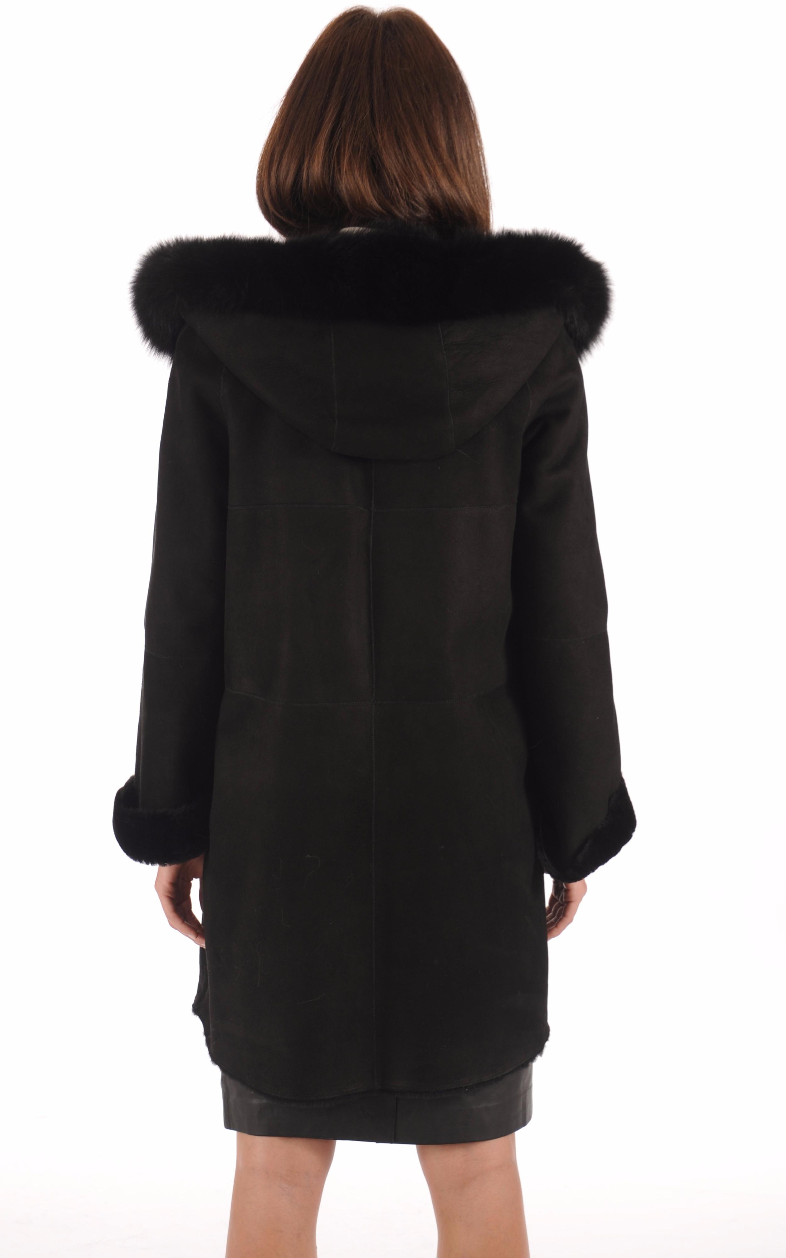 Manteau Mérinos Velours Noir La Canadienne