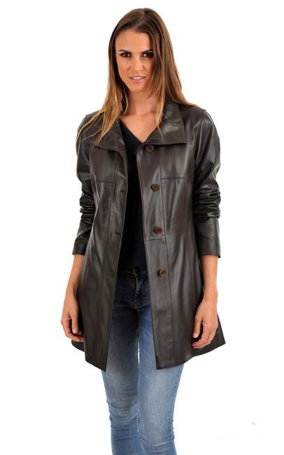 veste longue cuir agneau femme la canadienne la canadienne veste 3 4 cuir marron. Black Bedroom Furniture Sets. Home Design Ideas