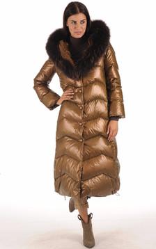 Maxi Doudoune Textile et Fourrure Bronze1