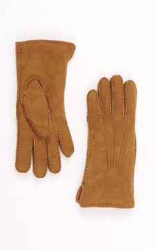 Gants Mouton Velours Caramel Bordés Cuir1