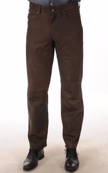 Pantalon Cuir Agneau Nubuck Marron1
