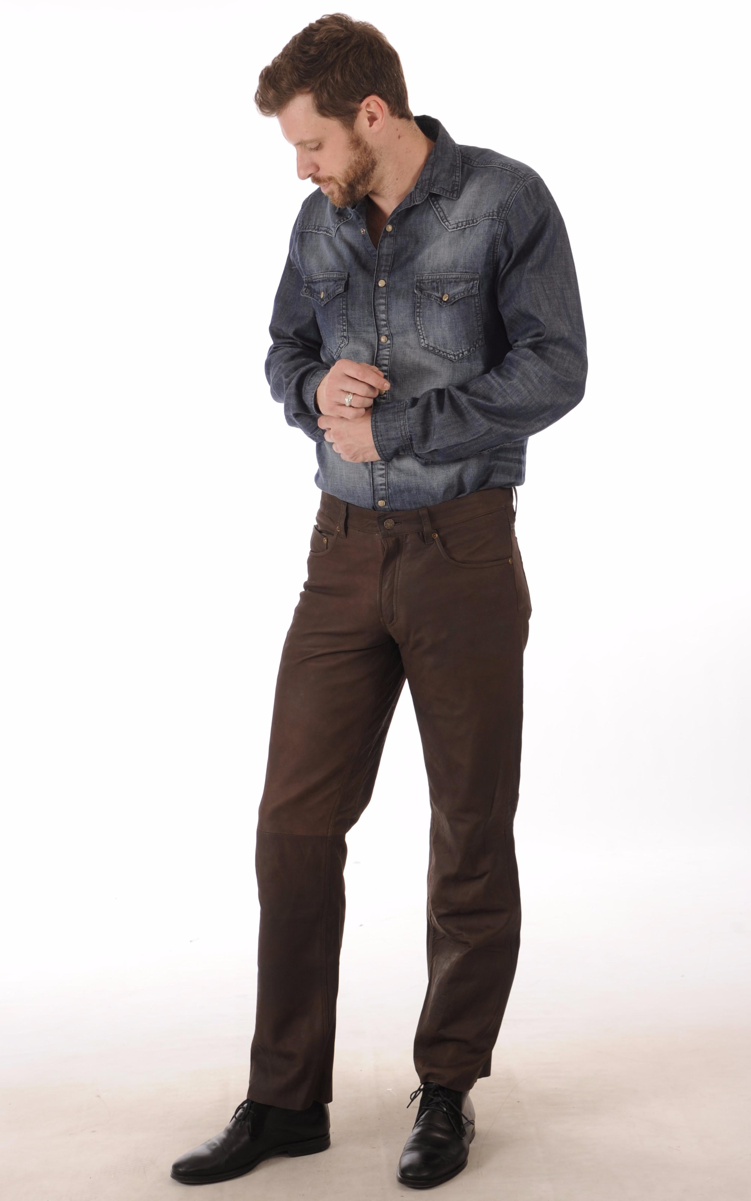 Pantalon Cuir Agneau Nubuck Marron Maddox