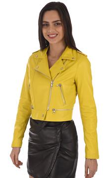Blouson Yoko en cuir jaune