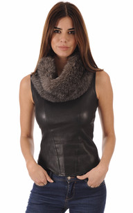 Snood Fourrure & Laine Gris Silver