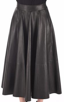 Jupe Longue Cuir Agneau Noir