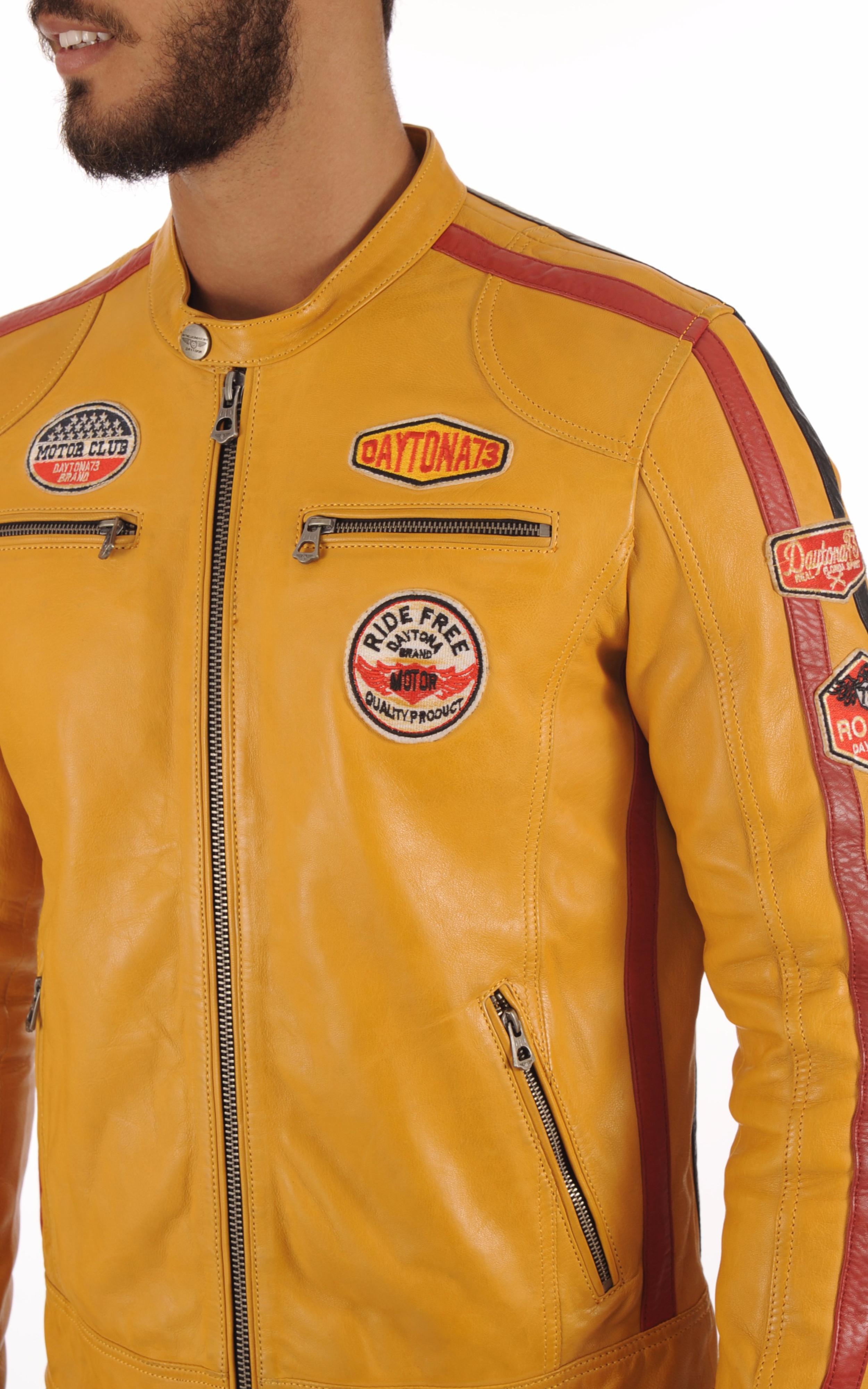 Blouson Cuir Jaune Style Motard Daytona 73