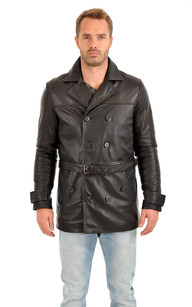 Trench en Cuir Marron Homme