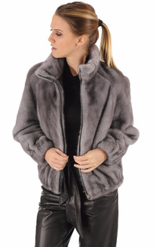 Blouson vison gris
