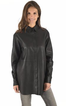 Chemise longue en cuir noir