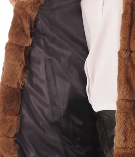 Manteau fourrure rex cognac Oakwood