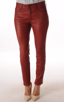 Pantalon Cuir Stretch Bordeaux1