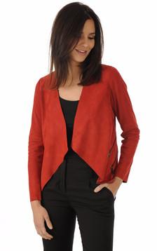 Veste Ouverte Cuir Velours Rouge