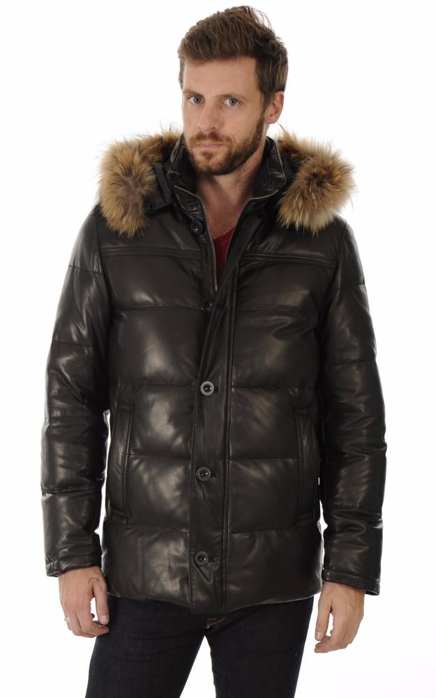 doudoune en cuir noir pour homme smarty la canadienne doudoune parka cuir noir. Black Bedroom Furniture Sets. Home Design Ideas
