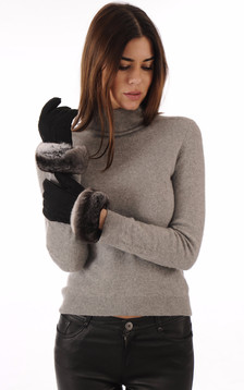 Gants Cuir Velours & Fourrure Chinchilla