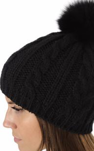 Bonnet Laine & Fourrure Noir