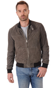 Blouson Cuir Velours Homme Taupe Rino1