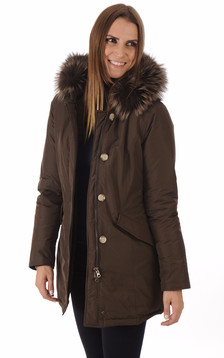 Parka Luxury Arctic Fox marron foncé