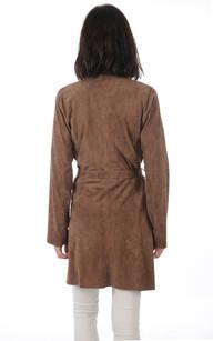 Veste Longue Cuir Velours Femme