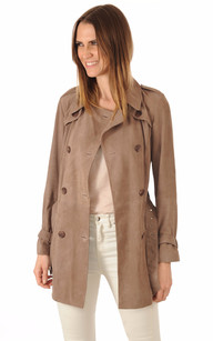 Trench Femme en Cuir Velours Taupe1
