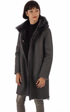 Manteau réservible peau lainée grise foncée