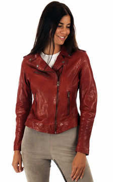 Blouson cuir rouge femme