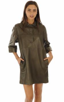 Robe en cuir Rapsody kaki