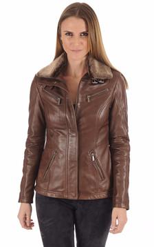 Veste cuir marron clair
