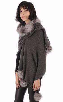 Poncho renard argenté gris1