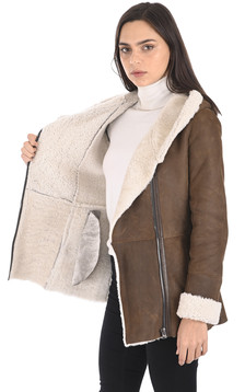 Veste peau lainée marron