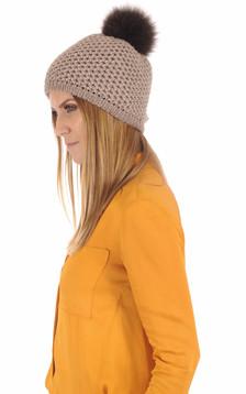 Bonnet laine et fourrure taupe1