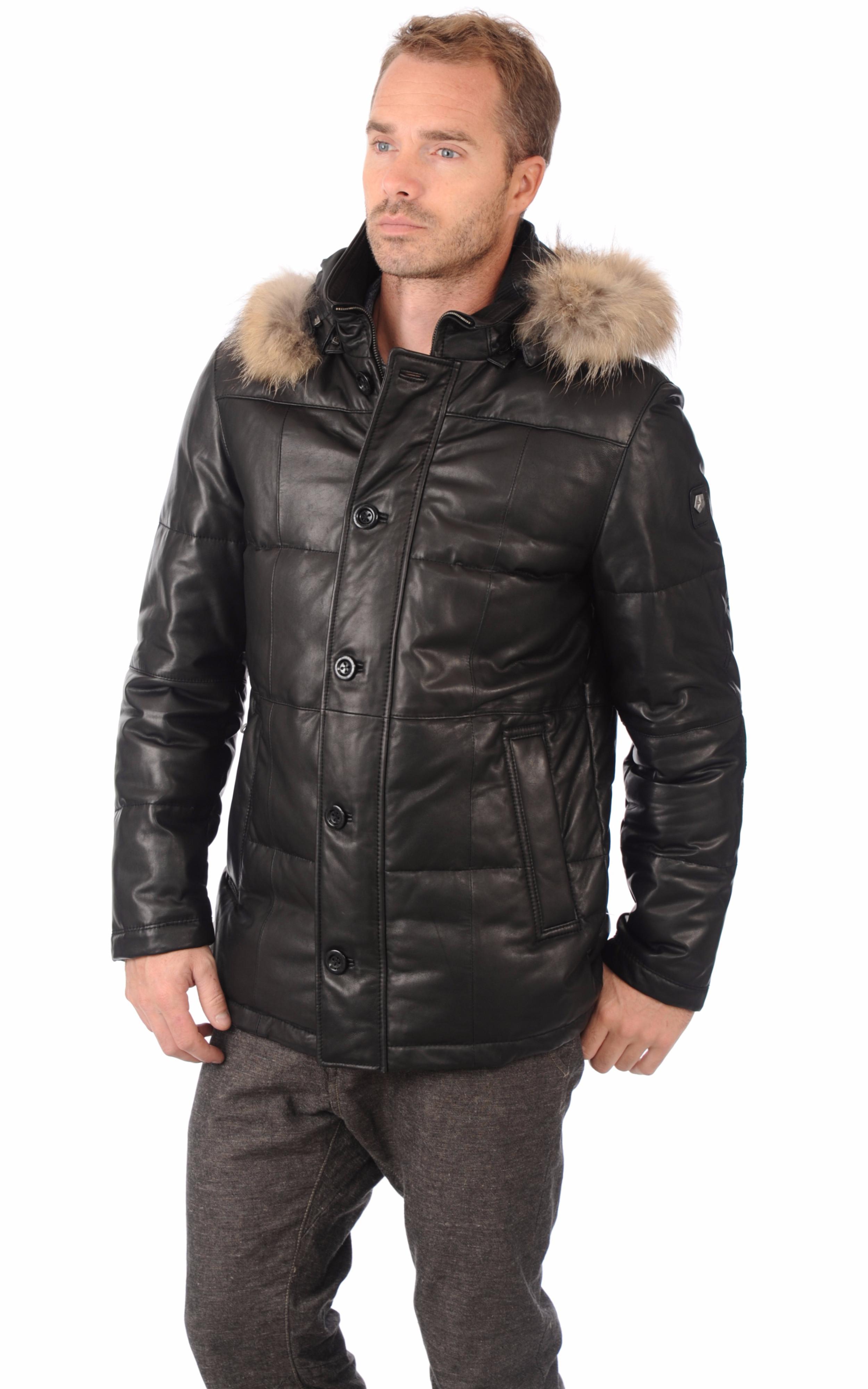 doudoune cuir homme milestone la canadienne doudoune parka cuir noir. Black Bedroom Furniture Sets. Home Design Ideas