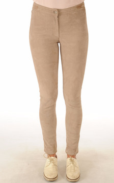 Pantalon Cuir Velours Stretch Beige1