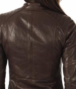 Blouson motard cuir marron foncé Rose Garden