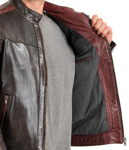 blouson cuir homme style motard daytona la canadienne blouson cuir marron rouge. Black Bedroom Furniture Sets. Home Design Ideas