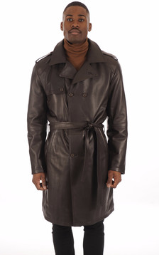 Trench Cuir Marron Homme1