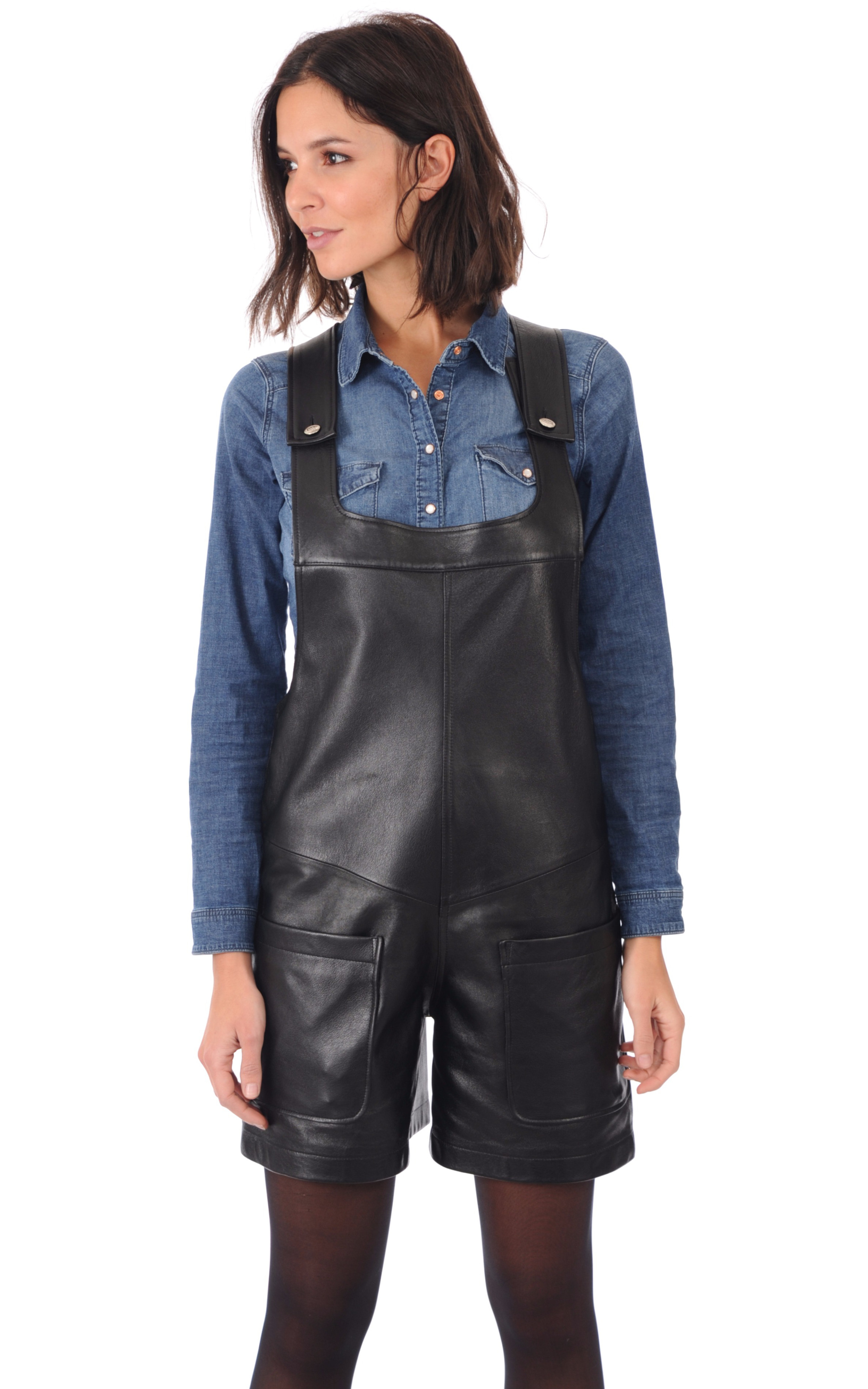 salopette cuir femme lou andrea la canadienne pantalon short cuir noir. Black Bedroom Furniture Sets. Home Design Ideas