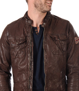 blouson guzzi cuir marron pepe jeans la canadienne blouson cuir marron. Black Bedroom Furniture Sets. Home Design Ideas