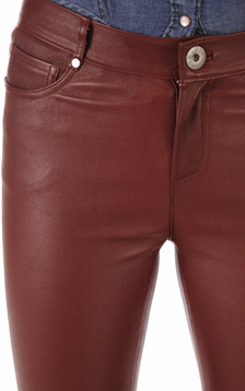 Pantalon agneau stretch bordeaux