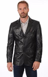 Blazer Cuir Noir Homme1