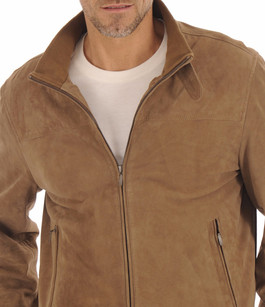 Blouson Cuir Velours Taupe Homme Itallo