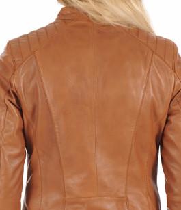 Blouson motard cuir tan Rose Garden