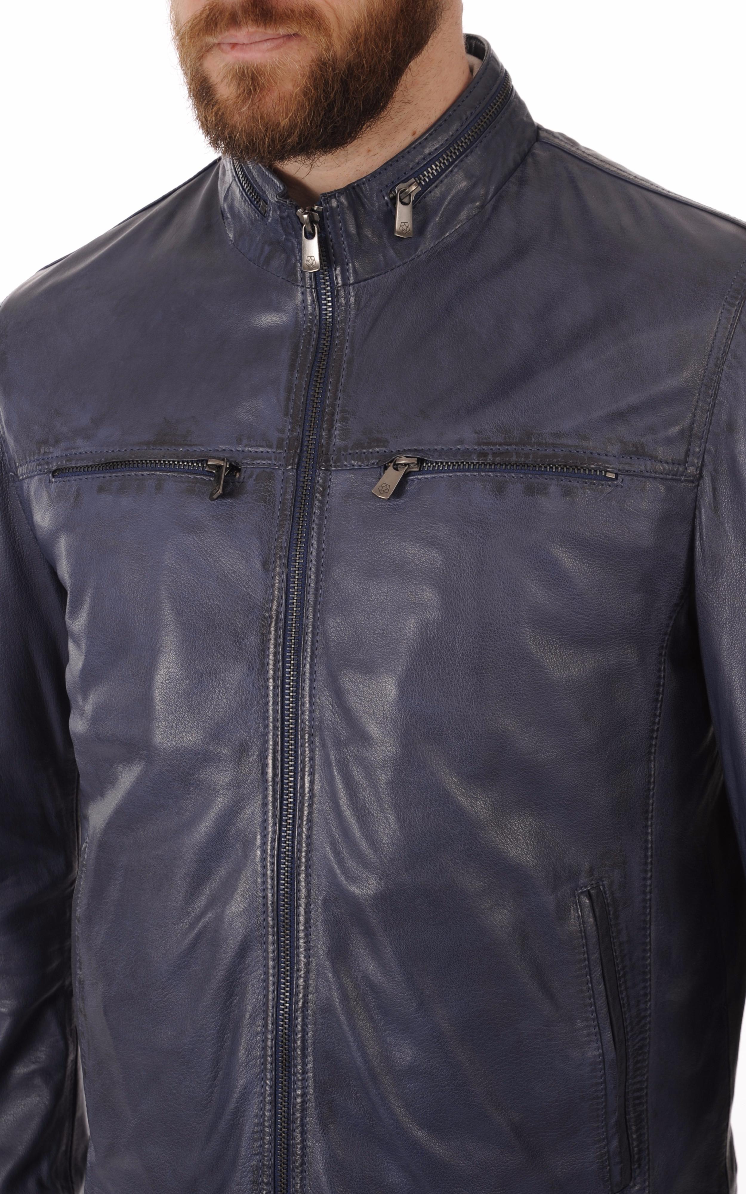 Blouson Cuir Bleu Coupe Droite Milestone